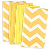 DII Microfiber Multi-Purpose Cleaning Towels Perfect for Kitchens, Dishes, Car, Dusting, Drying Rags, 16 x 19, Set of 4 - Yellow Chevron