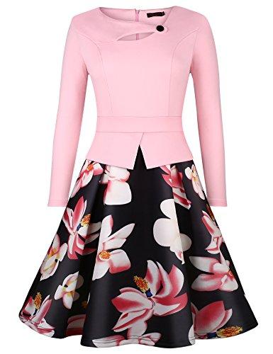 Vessos Women's Elegant Long Sleeve Floral Midi Vintage Evening Dress Pink Medium