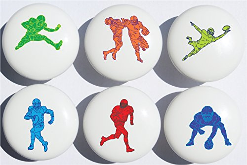 Presto Chango Decor Football Drawer Pulls/Sports Furniture Ceramic Cabinet Knobs/Set of 6