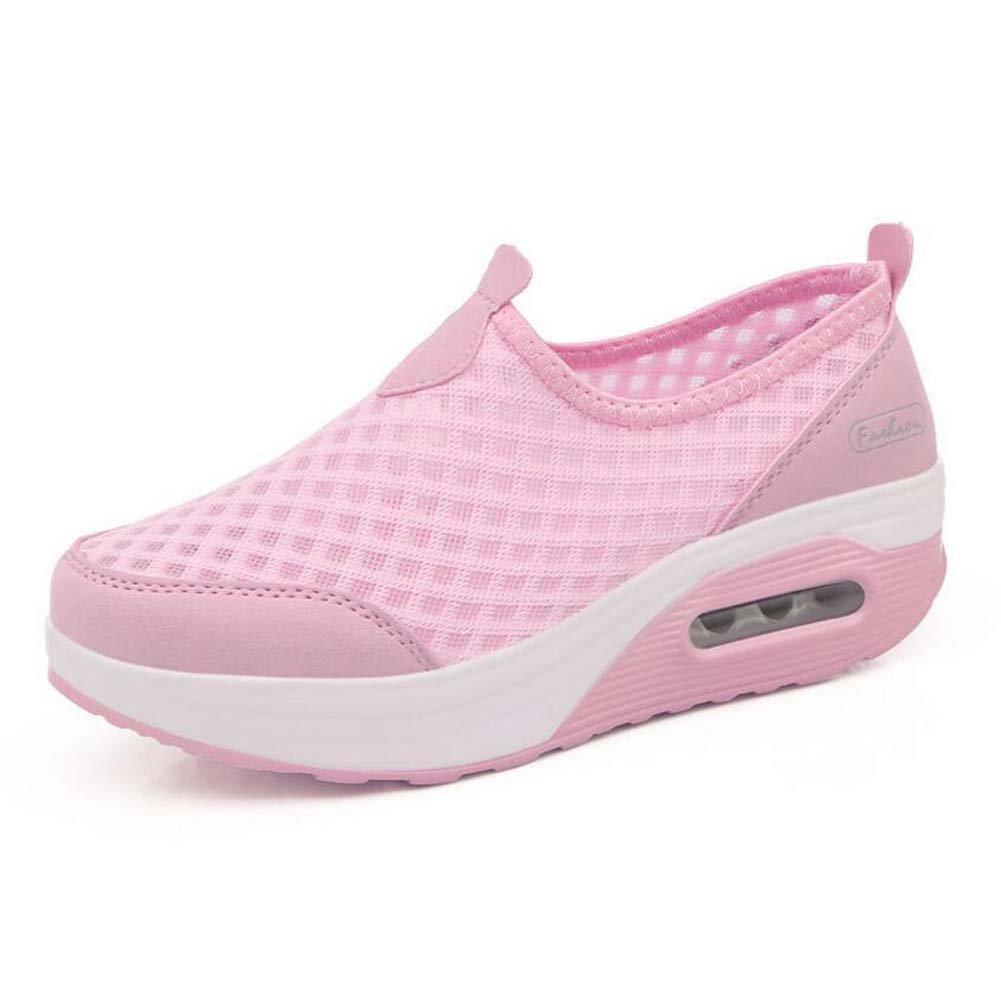 Zapatillas de Deporte Casuales de Las Mujeres Zapatos de Amortiguación de Aire Zapatos Deportivos de Malla Zapatos de Suela Gruesa Primavera y 35 EU Rosado