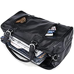 Tiding Men's Black Nappa Leather Travel Tote Bag Sport Duffle Gym Bag 1024-1
