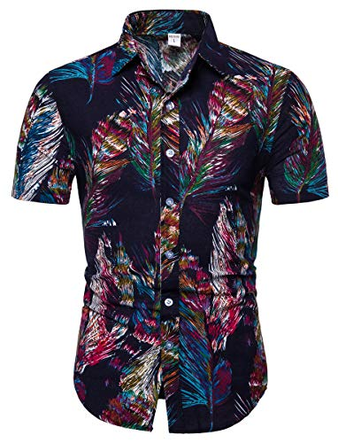 Men's Floral Print Button Short Sleeve Button Front Casual Shirt Tops, 6#Color