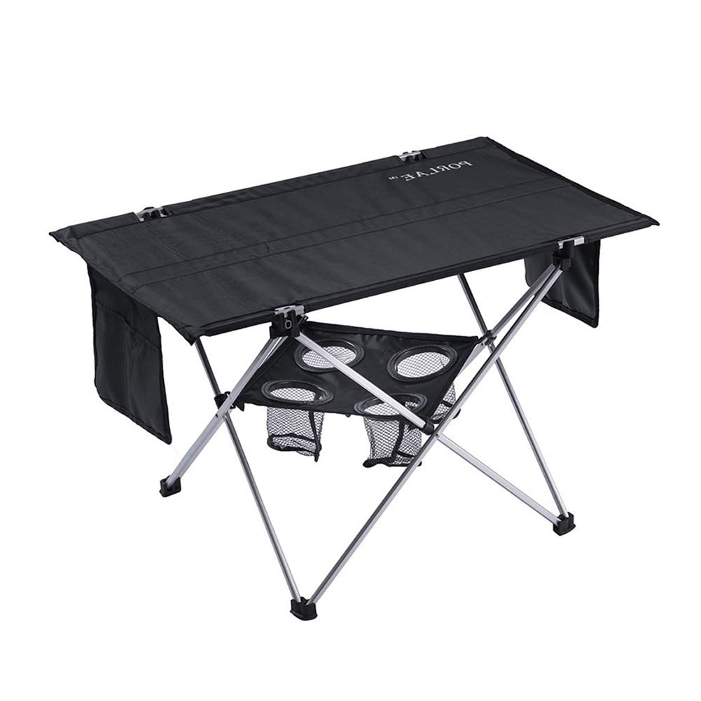 PORLAE Folding Table with Cup Holders Foldable Portable Tables with Carry Bag for Outdoor Camping Hiking and Picnic by PORLAE