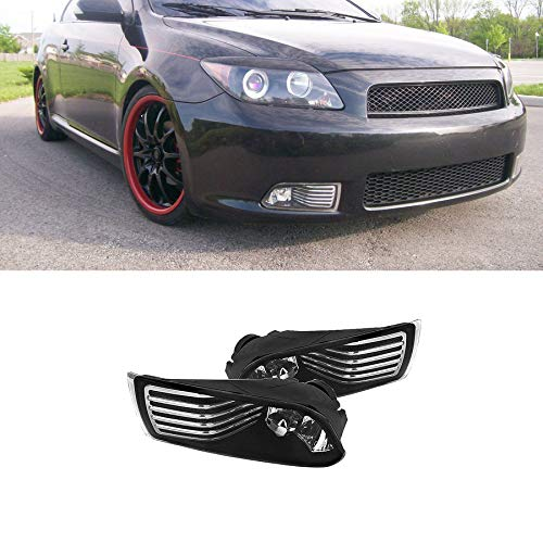 Mgpro New 1 Pair For Scion 2005-2010 tC Base Coupe / 2007-2008 tC Spec Coupe Clear Lens Front Bumper Driving Lamp Fog Lights w/ H3 Bulbs+Switch+Relay+Wire+Hardware