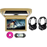 Package: Rockville RVD10HD-BG 10.1 Beige Flip Down Monitor With DVD Player, HDMI, USB/SD, Games, and LED Mood Light Tan + (2) Rockville RFH3 Dual Channel Wireless Ir Headphones
