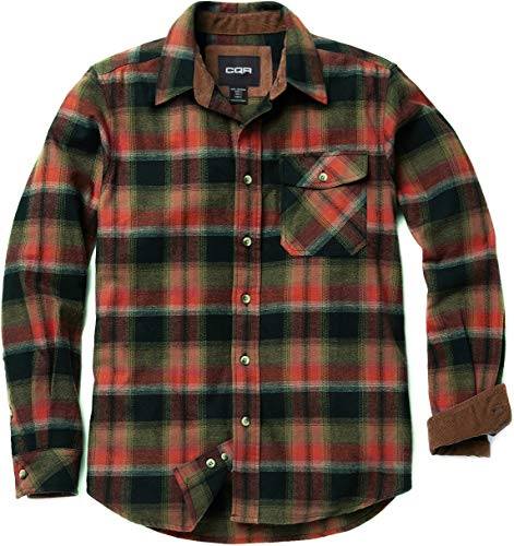 CQR Men's Flannel Long Sleeved Button-Up Plaid All Cotton Brushed Shirt, Plaid(hof110) - Orange Rust, 3X-Large ()