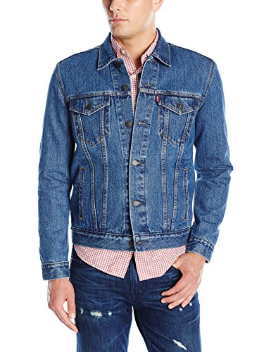 Custom Denim Jacket - Levi's Men's The Trucker Jacket, Medium Stonewash, X-Large