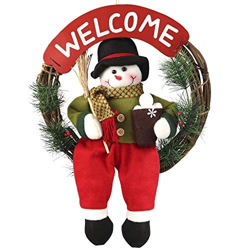 Snowman Door Wreath - D-FantiX Snowman Christmas Wreath, 14 Inch Grapevine Wreath Small Front Door Wreaths Holiday Christmas Decorations