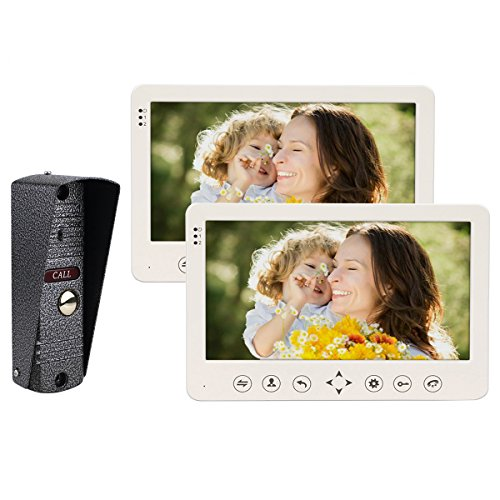 TIVDIO CP80 Video Door Phone Wired Video Intercom System Night Vision Doorbell Intercom with 1 IR Night Doorbell Camera and 2 Hands Free Monitor Intercom Doorbell (2 Monitor 1 Camera) by TIVDIO