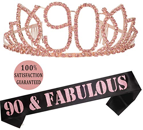 90th Birthday Tiara and Sash Pink | HAPPY 90th Birthday Party Supplies | 90 and Fabulous Pink Black Glitter Satin Sash and Crystal Tiara Birthday Crown for 90th Birthday Party Supplies and Decorations