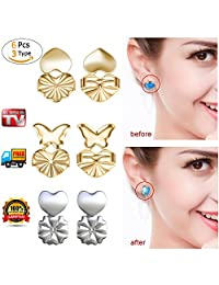 Bomach 3 Pairs Earrings Backs Lifts Magic Bax Hypoallergenic Earring Stud Back Lifters Adjustable Lock Earring Security Support Jewelry Accessories for Women and Girls (2 Golden + 1 Silvery)