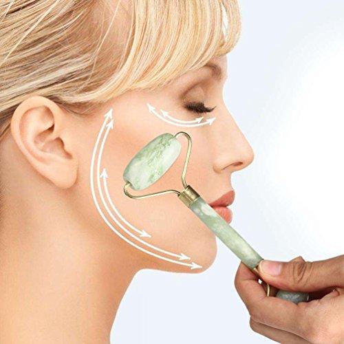 Coohole Creative Facial Massage Jade Roller Face Body Head Neck Nature Beauty Device Massager (Green)
