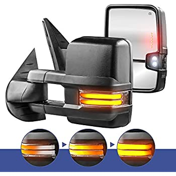 MOSTPLUS Power Heated Towing Mirrors for Chevy Silverado Suburban Tahoe GMC Serria Yukon 2008-2013 with Sequential Turn light, Clearance Lamp, Running Light(Set of 2)