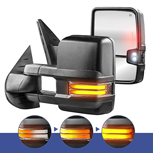 MOSTPLUS New Power Heated Towing Mirrors for Chevy Silverado Suburban Tahoe GMC Serria Yukon 2008-2013 w/Sequential Turn light, Clearance Lamp, Running Light(Set of 2)