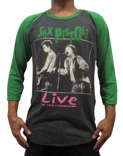 Bunny Brand Men's Sex Pistols Live at the LONGHORN Music Raglan T-Shirt (X-Large, Gray)