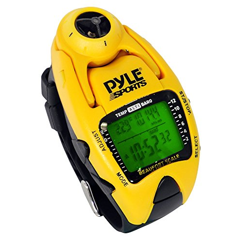 (Pyle Sports PSWWM90Y Wind Speed Meter w/ Wind Chill Temp., Altimeter, Barometer, Compass, 10 Laps Chronograph Memory, Yacht Timer (Yellow Color))