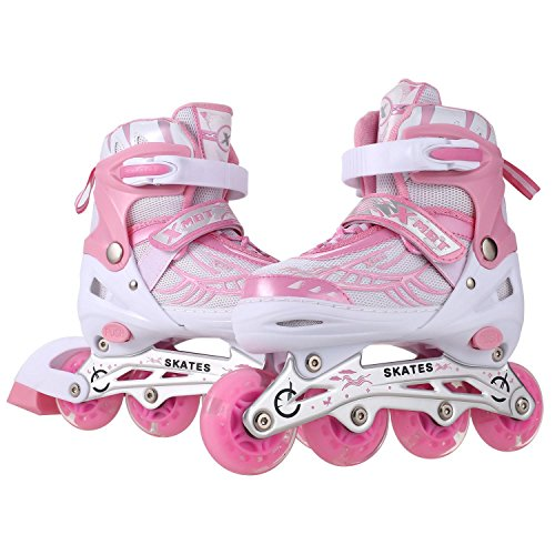 Cosway Inline Skate Shoes with Eight Illumination Wheels, Breathable Mesh, Aluminum Frame, Adjustable Rollerblades for Adults/Kids/Boys/Girls (Pink, (Aluminum In Line Skates)