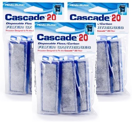 Penn Plax 3 Pack of Cascade 20 Replacement Filter Cartridges, 3 Filters Per Pack