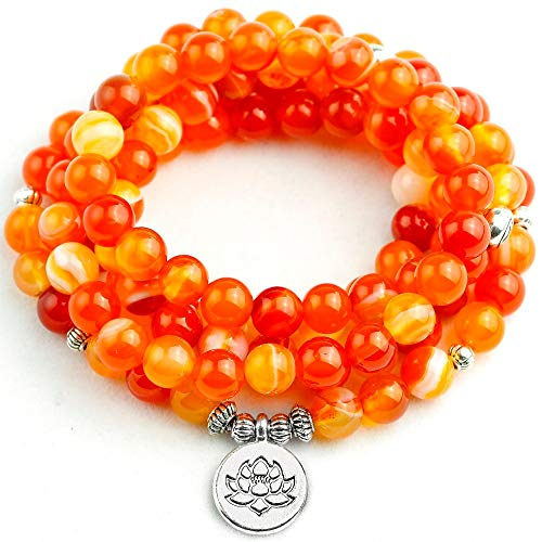 - Orange Stripe Onyx Bracelet | Women Lotus Tree Wing Pendant Necklace | Unisex 108 Prayer Beads Stone Jewelry 8Mm (Big OM Charm)