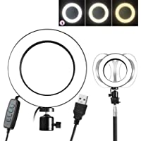 YOUQING Anillo de luz LED Regulable con Soporte 128 LED 3-Light 360 Rotary USB Live Streaming Circle Light para Youtube Video Fotografía