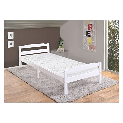 Einzelbett für kinder  Bett 90 x 200 cm Kiefer weiß Massivholz Jugendbett Lattenrost ...