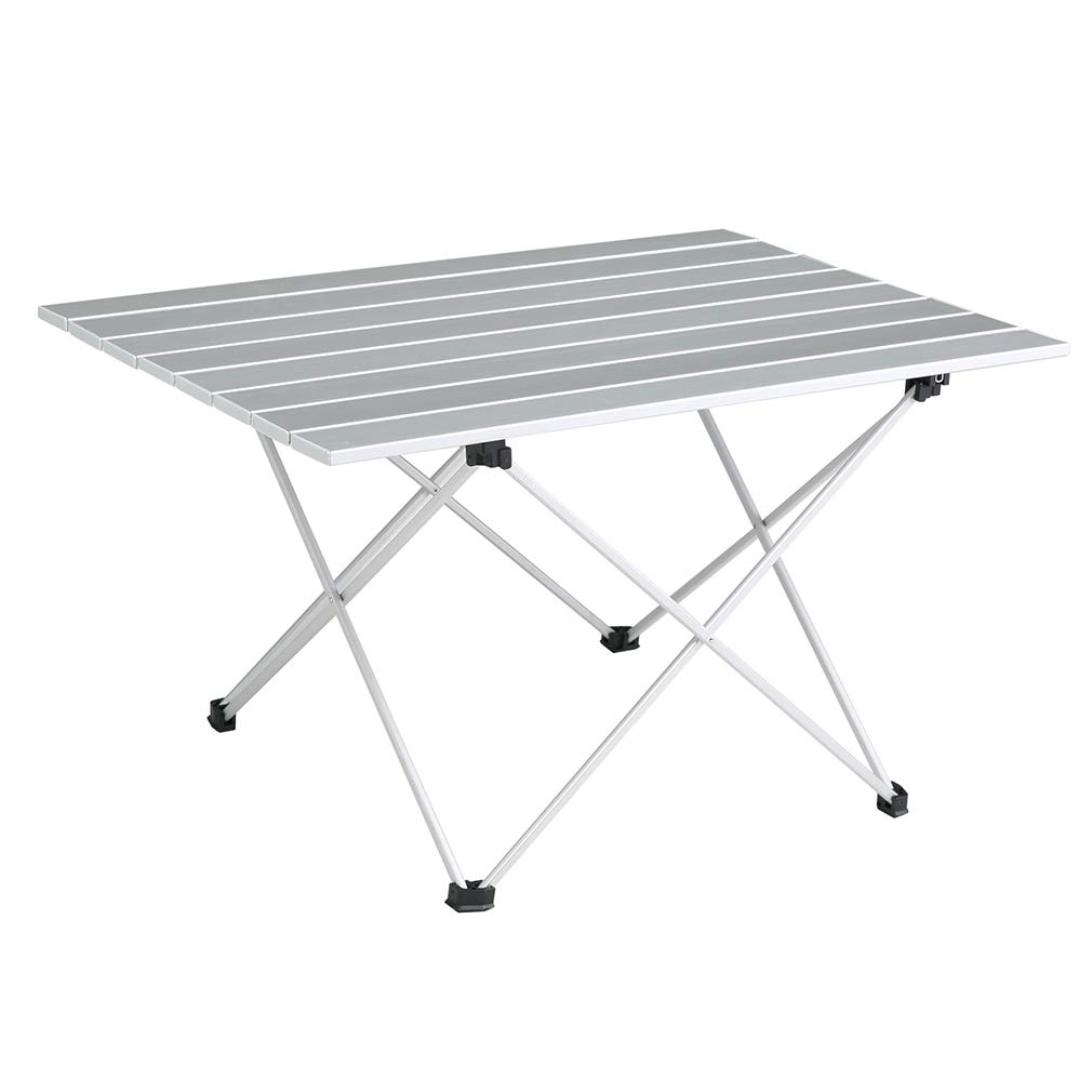 SOVIGOUR Aluminum Folding Camping Table, Portable Compact Roll Up Camp Table, 3 Size Lightweight Picnic Table with Carry Bag for Hiking, BBQ, Fishing and Travel- L by SOVIGOUR