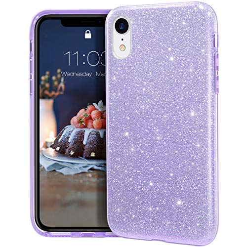 MATEPROX iPhone XR Case Glitter Slim Shiny Sparkle Crystal Bling Cover Cute Girls Case for iPhone XR 6.1'' (Purple)