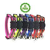 [Upgraded Version] Reflective Cat Collar with Bell, Set of 6, Solid & Safe Collars for Cats, Nylon, Mixed Colors, Pet Collar, Breakaway Cat Collar, Free Replacement (6-Pack)