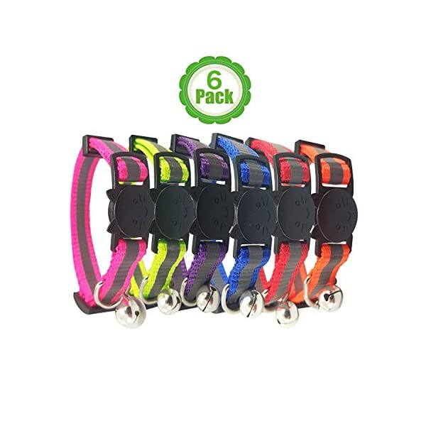 Upgraded Version - Reflective Cat Collar with Bell, Set of 6, Solid & Safe Collars for Cats, Nylon, Kitty Collars, Pet Collar, Breakaway Cat Collar, Free Replacement (6-Pack) 1