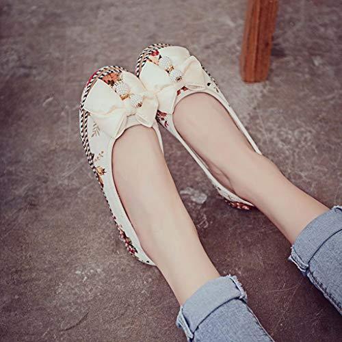 Y Plataforma Para Mujer Loafer Uso Floral Flat Oficina Diario De Zapatos Beige Mocasines Casual waf6Xqv