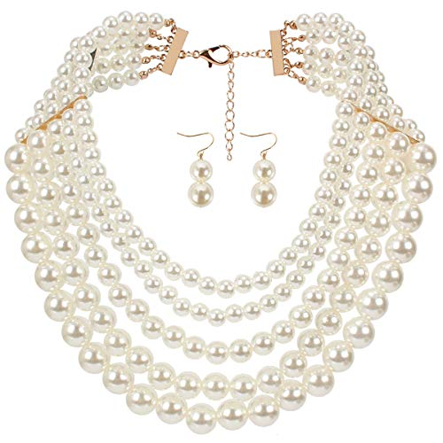 Lanue Women Elegant Jewelry Set Multi Strand 5 Layer Pearl Bead Cluster Collar Bib Choker Necklace and Earrings Suit -