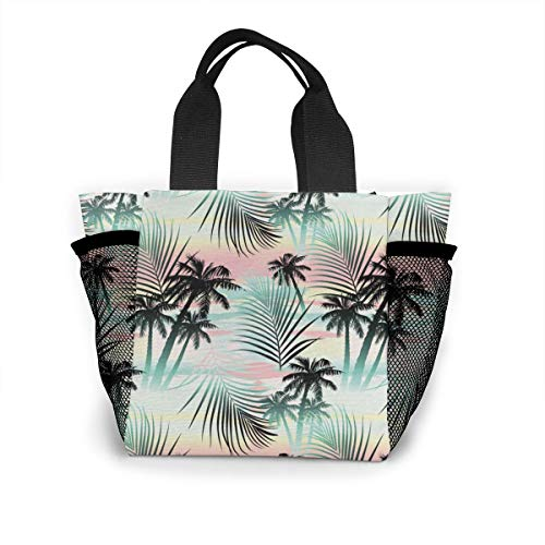 Palm Beach Mini - Summer Season Palm Trees And Exotic Fern Leaves Shopping Tote For Women Insulated Lunch Tote Bag Cute Lunch Box Lunchbox Reusable Lunch Bag Lunch Organizer Lunch Holder For Women Adult Girls Kids Men