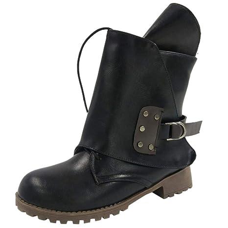 2e446dfec48ac Amazon.com: Women Vintage Leather Lace-up Belt Buckle Ankle Booties ...