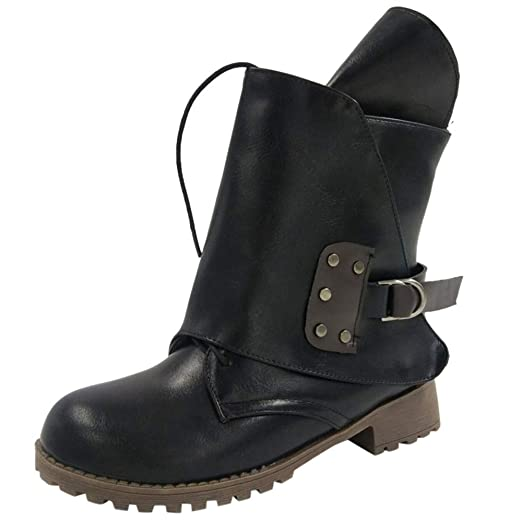 Women Vintage Leather Lace-up Belt Buckle Ankle Booties Knight Martin Boots ae005409e5be