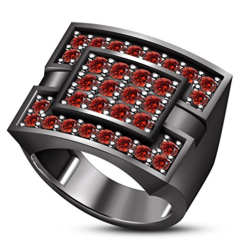 TVS-JEWELS black rhodium plated 925 sterling silver red garnet round cut men's wedding band ring (10.75)