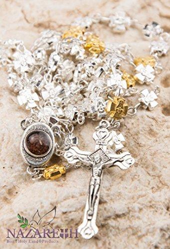 Rosary Silver Plated Cross (Jerusalem Crosses Rosary Beads Silver Plated Cross Pendant Necklace Holy Land)