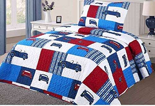 Patchwork, Twin Golden Quality Bedding 6-Piece Bed in a Bag Set with Toy