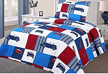 Golden Linens Twin Size 2 Pieces Quilt Bedspread Set Kids for Boys & Girls (Cars -06) GoldenLinens