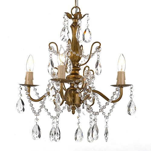 Wrought Iron Chandelier 14 Light (Wrought Iron and Crystal 4 Light Gold Chandelier H 14