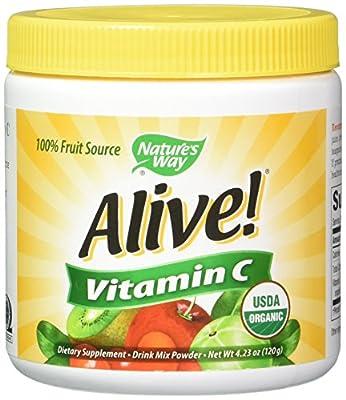 Natures Way Alive Organic Vitamin C Powder 120g, 2 Pack