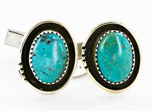 $280Tag Certified Silver Navajo Natural Turquoise Native American Cuff Links 19110-3 Made by Loma Siiva ()