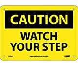 National Marker Company C203RB''Caution Watch Your Step'' Rigid Sign, Black, Yellow, Black, Yellow