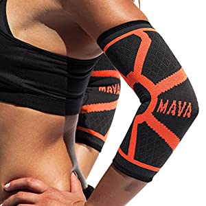 Mava Sports Knitted Elbow Sleeves Recovery Compression (Pair) – Support for Workouts, Weightlifting, Arthritis, Tendonitis, Tennis and Golfer's Elbow – Athletic Elbow Sleeve (Orange, Large)