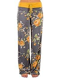Women's Comfy Casual Pajama Pants Floral Print Drawstring...