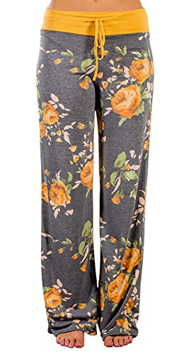 AMiERY Pajamas for Women Women's High Waist Casual Floral Print Drawstring Wide Leg Palazzo Pants Lounge Pajama Pants (Tag L (US 8), Yellow) - Floral Girls Pullover