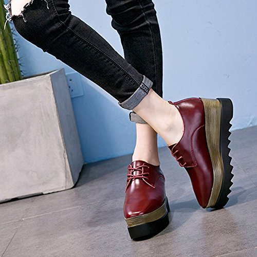 GIY Women Fashion Platform Low Top Square Toe Sneaker Thick Bottom Casual Wedge Shoes Red e26FM6