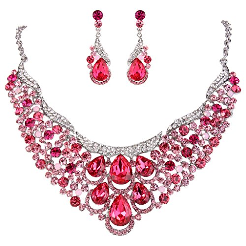 EVER FAITH Women's Rhinestone Crystal Gorgeous Teardrop Wave Necklace Earrings Set Pink Silver-Tone - Jewelry Pink Rhinestone