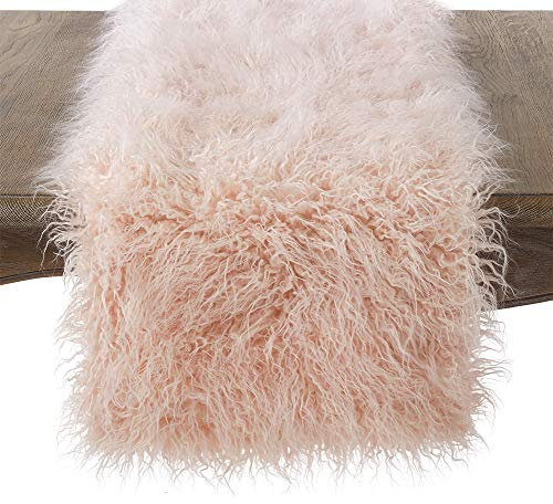 - Fennco Styles Decorative Faux Mongolian Fur Runner (Rose, 16