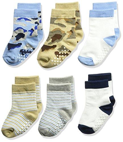 Jefferies Socks Boys' Toddler Non-Skid Camo/Stripe Crew Socks 6 Pair Pack, Multi,
