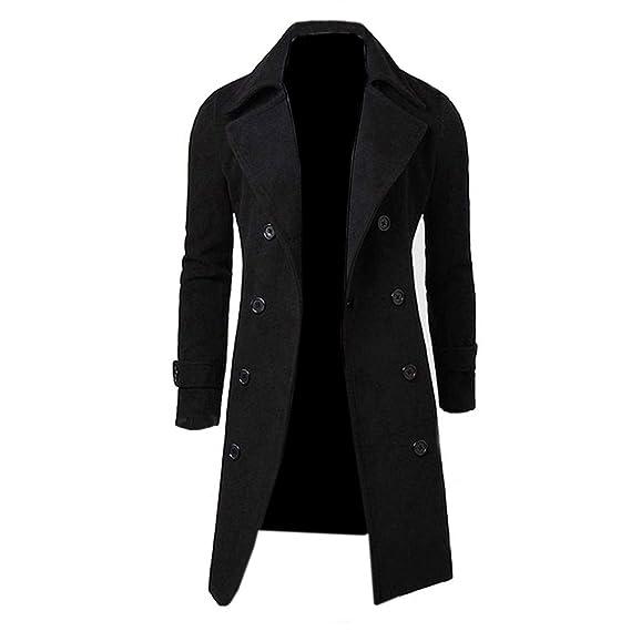 afa67f187e90 Arrowhunt Men's Trench Coat Winter Long Jacket Double Breasted Overcoat  Black